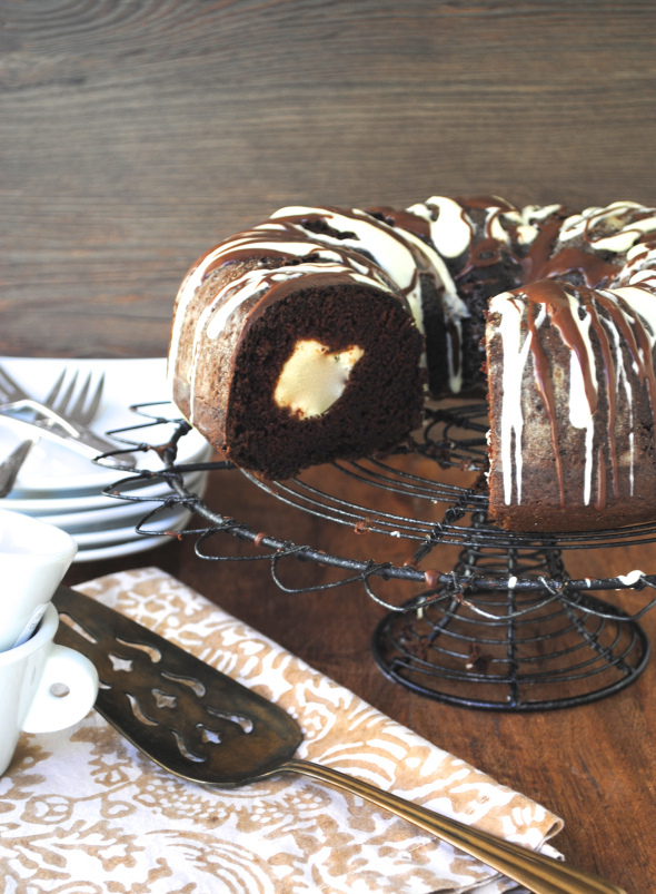 Chocolate Bundt Cake with Cream Cheese Filling Recipe on We Heart